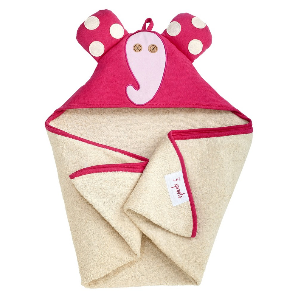 Image of 3 Sprouts Newborn/Infant Hooded Towel - Elephant, Pink