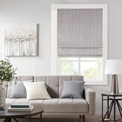"27""x64"" Paxton Basketweave Room Darkening Cordless Roman Window Shade Gray"
