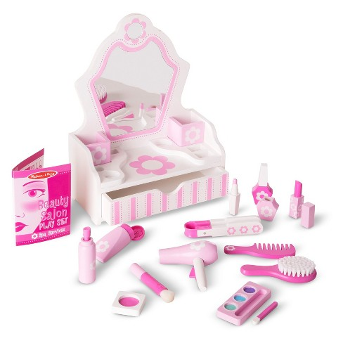 Melissa Amp Doug Wooden Beauty Salon Play Set With Vanity And Accessories 18pc Target