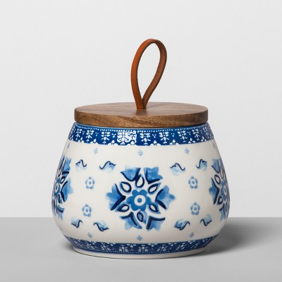 Floral Stoneware Canister with Wood Lid S Blue/White - Opalhouse™