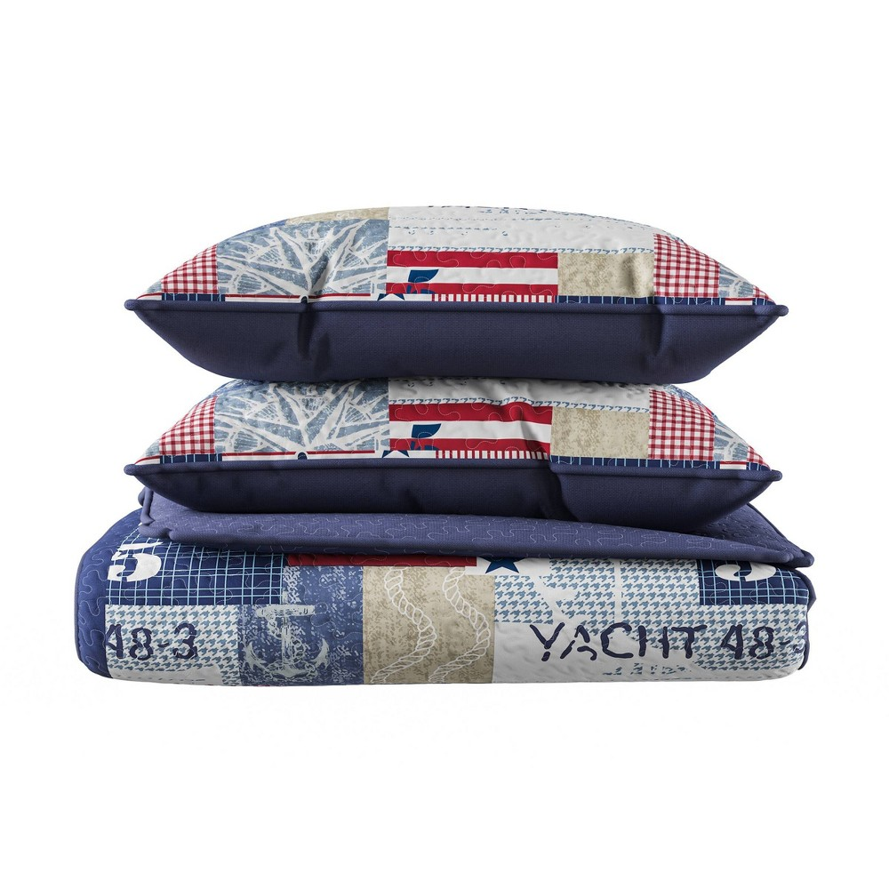 Full Queen 3pc Nautical Americana Patchwork Print Soft Microfiber Quilt Set