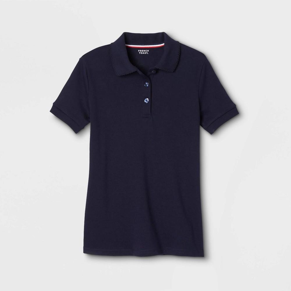 Image of French Toast Girls' Bow Pocket Uniform Jersey Polo Shirt - Navy M, Girl's, Size: Medium, Blue