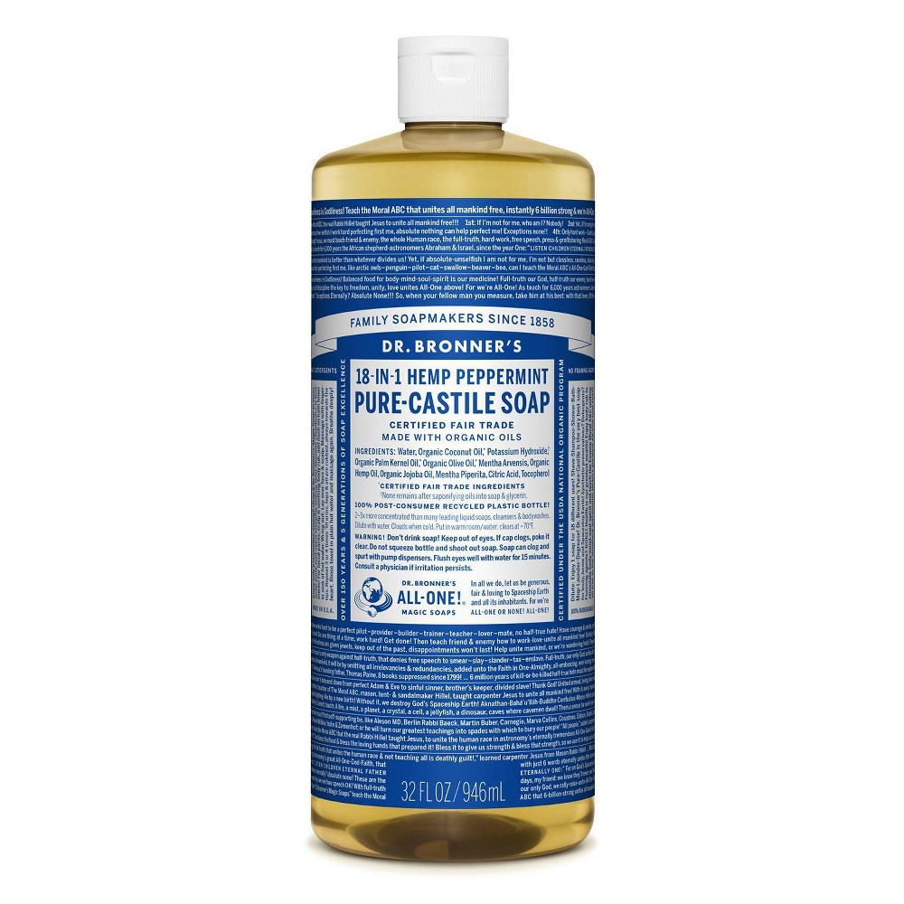 Image of Dr. Bronner's 18-In-1 Hemp Pure-Castile Soap - Peppermint - 32 fl oz