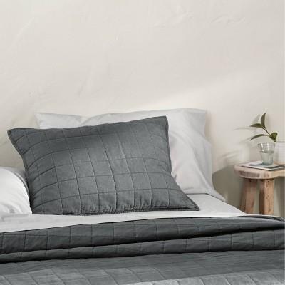 Standard Heavyweight Linen Blend Quilted Pillow Sham Dark Gray - Casaluna™
