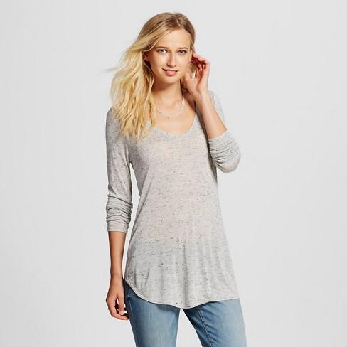 a233019f Women's Long Sleeve V-Neck T-Shirt - Mossimo™ Light Gray XL : Target