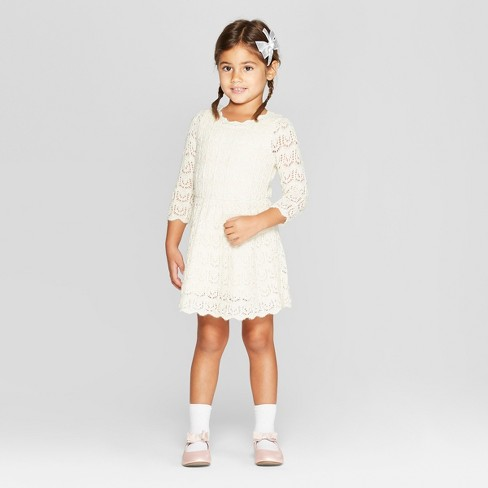Toddler Girls Sweater Dress Cat Jack Cream