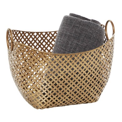 "Olivia & May 16.75""x11.5"" Large Gold Metal Basket"