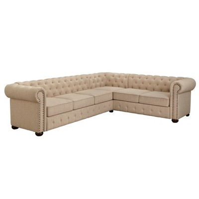 Brianna Chesterfield Sectional Beige - Buylateral