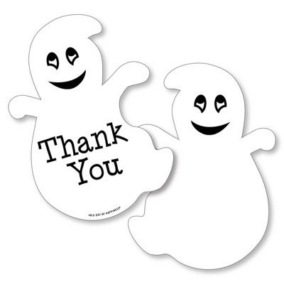 Big Dot of Happiness Spooky Ghost - Shaped Thank You Cards - Halloween Party Thank You Note Cards with Envelopes - Set of 12