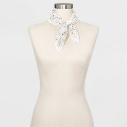 Women's Neckerchief Floral Print Scarf - A New Day™ Cream
