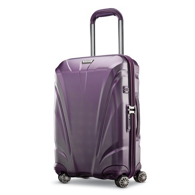 Samsonite Xcalibur XBT Spinner Hard Side Wheeled Carry On Travel Suitcase with USB Charging Port, Packing Cubes, and Adjustable Handle, Purple