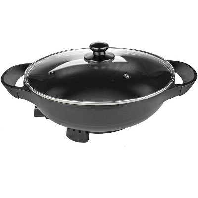 Brentwood Appliances SK-69BK Large13-Inch Non Stick Flat Bottom Electric Wok Skillet with Vented Glass Lid Kitchen Appliance, Black