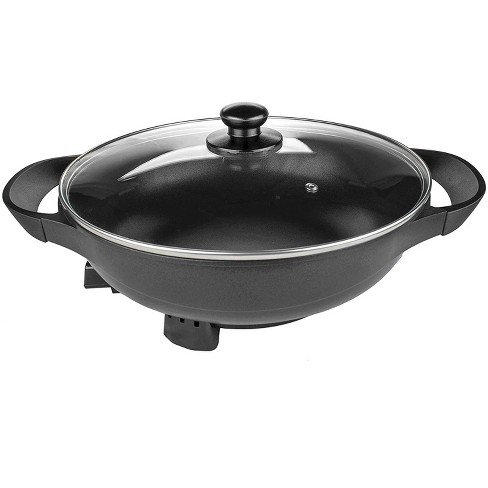 Brentwood Appliances SK-69BK Large13-Inch Non Stick Flat Bottom Electric Wok Skillet with Vented Glass Lid Kitchen Appliance, Black - image 1 of 1