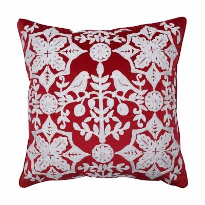 "18.5""x18.5"" Snowflakes & Berries Square Throw Pillow - Pillow Perfect"