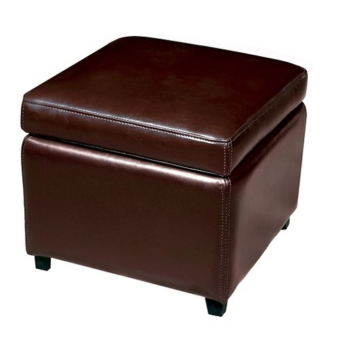 Full Leather Small Storage Cube Ottoman Dark Brown Baxton Studio Target