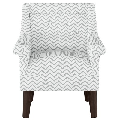 Kids Button Tufted Modern Chair Chevron Gray With... : Target