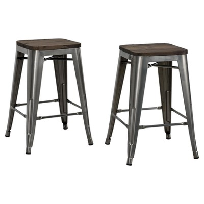 "Set of 2 24"" Fiora Backless Metal Counter Height Barstools with Wood Seat - Room & Joy"