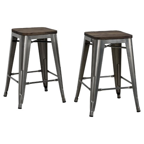Fusion 24 Metal Backless Counter Stool With Wood Seat Set Of 2
