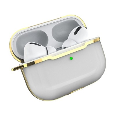Insten Case Compatible with AirPods Pro - Transparent Silicone Skin Cover with Keychain, Clear Gold