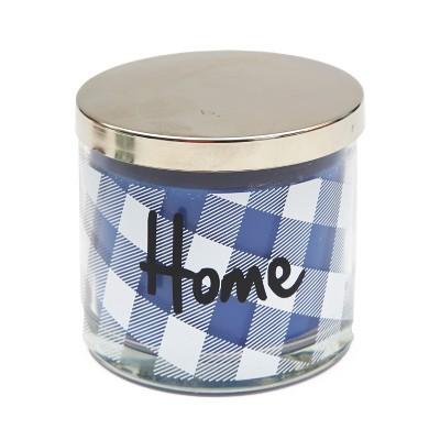 Lakeside Plaid Glass Farmhouse Glass Candle Jar with Sentiment