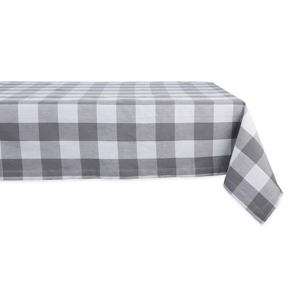 "Image of ""104"""" x 60"""" Cotton Buffalo Check Tablecloth Gray - Design Imports"""