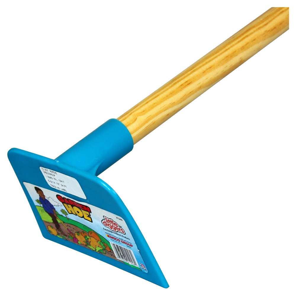 Image of Children's Garden Hoe with Plastic Head / Hardwood Handle - Blue - Little Diggers