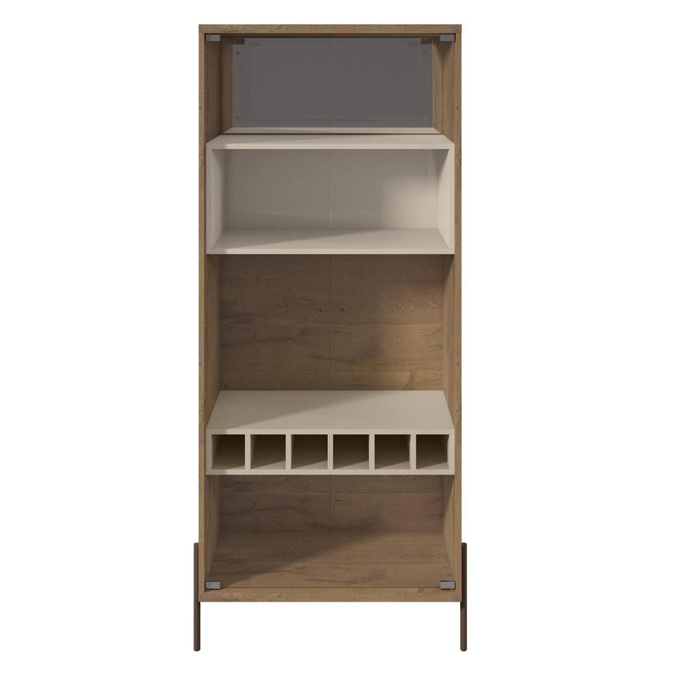 Joy 6 Bottle Wine Cabinet with 4 Shelves Off-White (Beige) - Manhattan Comfort