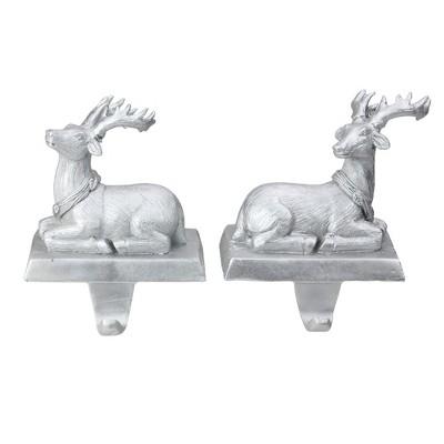 "Northlight Set of 2 Silver Reindeer Christmas Stocking Holders 6.5"""