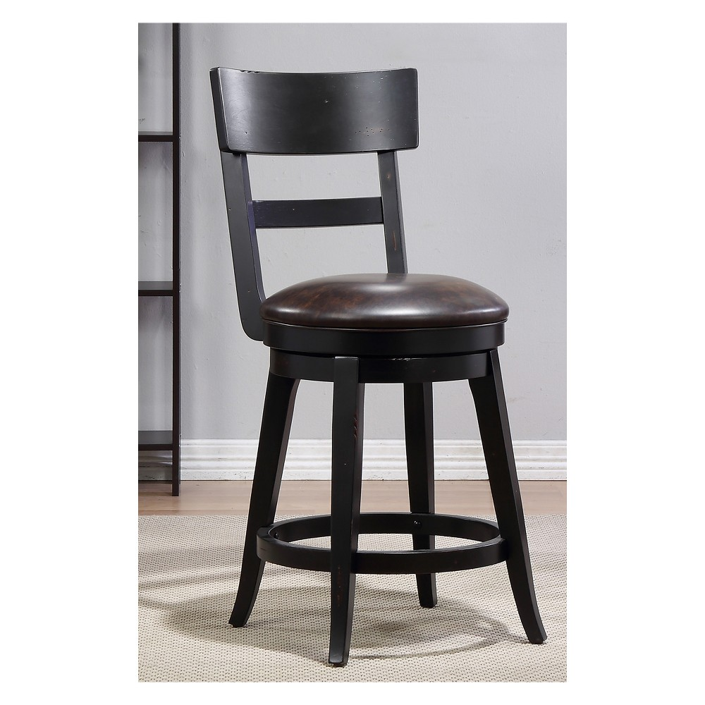 39.5 Alex Counter Height Swivel Stool Black - Foremost