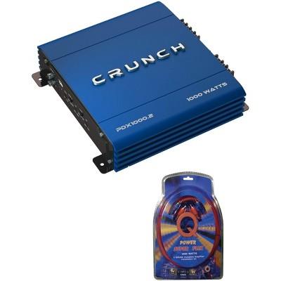 Crunch PowerDriveX 1000W 2 Channel Blue A/B Car Amplifier + 4-Gauge Wiring Kit