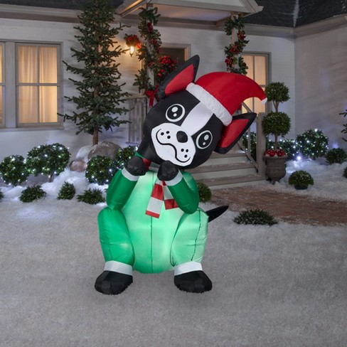 holiday animated inflatable begging dog boston terrier target - Boston Terrier Outdoor Christmas Decoration