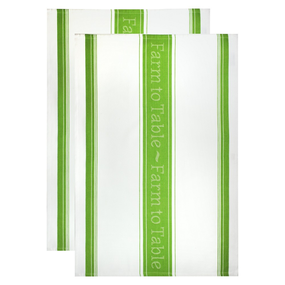 Farm To Table Jacquard Dish Towel Set Green (20X30) - Mu Kitchen, Green Grass
