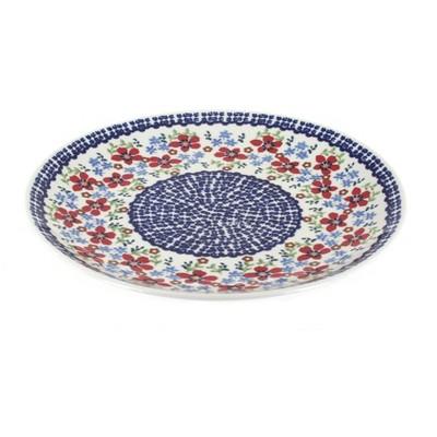 Blue Rose Polish Pottery Red Poppy Dinner Plate
