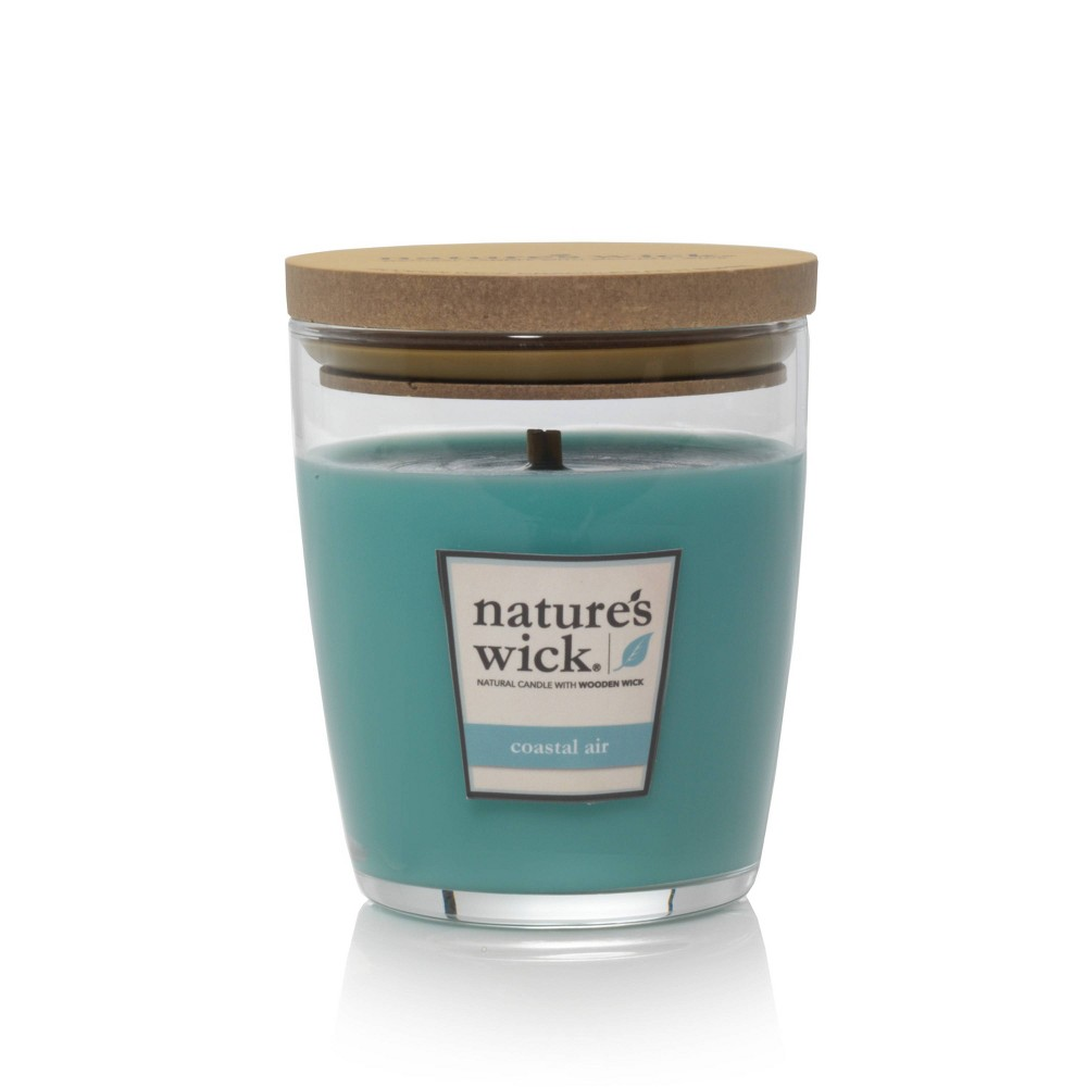 Image of 10oz Glass Jar Candle Coastal Air - Nature's Wick, Blue Mist