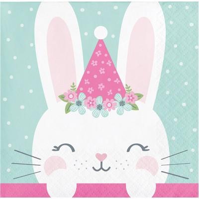 48ct Bunny Print Birthday Beverage Disposable Napkins