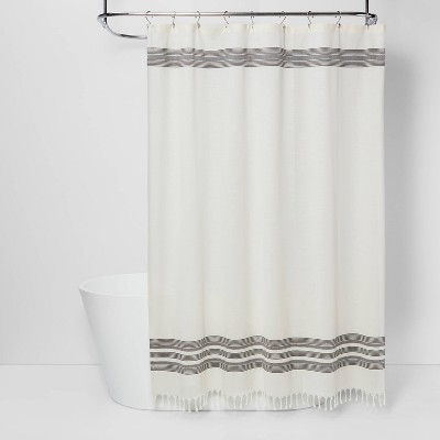 Striped Fringe Shower Curtain Off-White - Threshold™