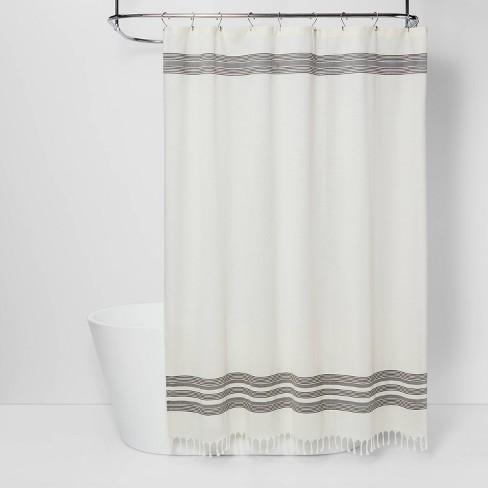Striped Fringe Shower Curtain Off-White - Threshold™ - image 1 of 4