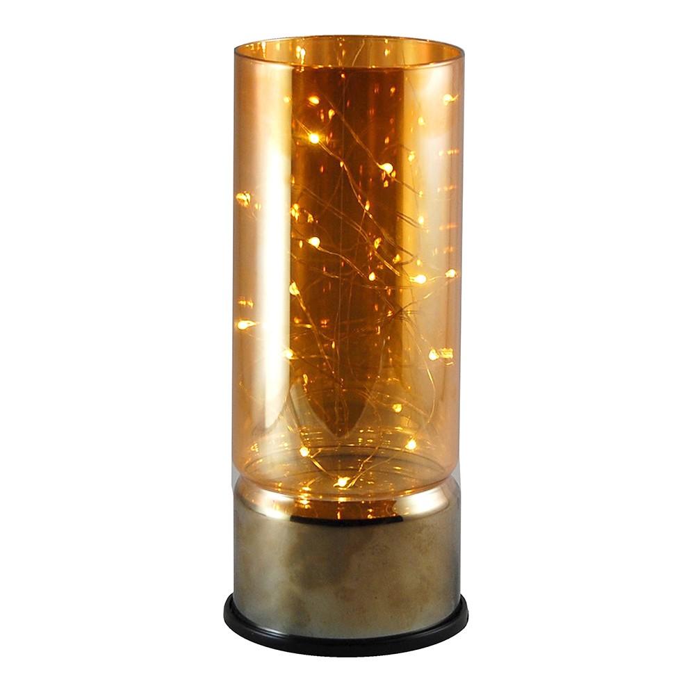 Image of LumaBase Glass Amber Lantern with Mini LED String Lights