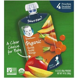 Gerber Organic 2nd Foods Baby Food, Carrot Apple Mango - 3.5oz (4pk )