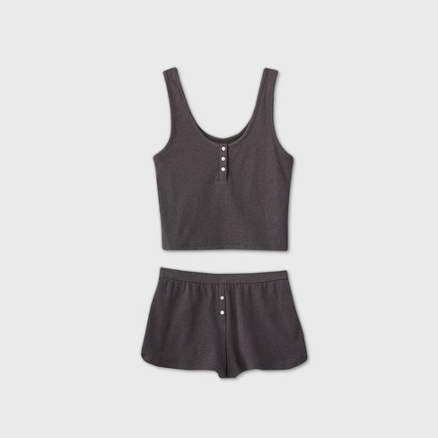 Women's Tank Pajama Set - Colsie™ Charcoal - image 1 of 2