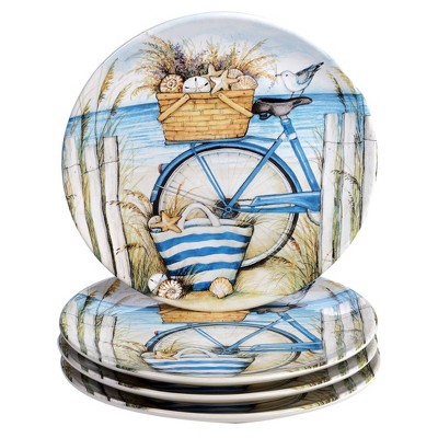 "11"" 4pk Earthenware By The Sea Dinner Plates Blue- Certified International"
