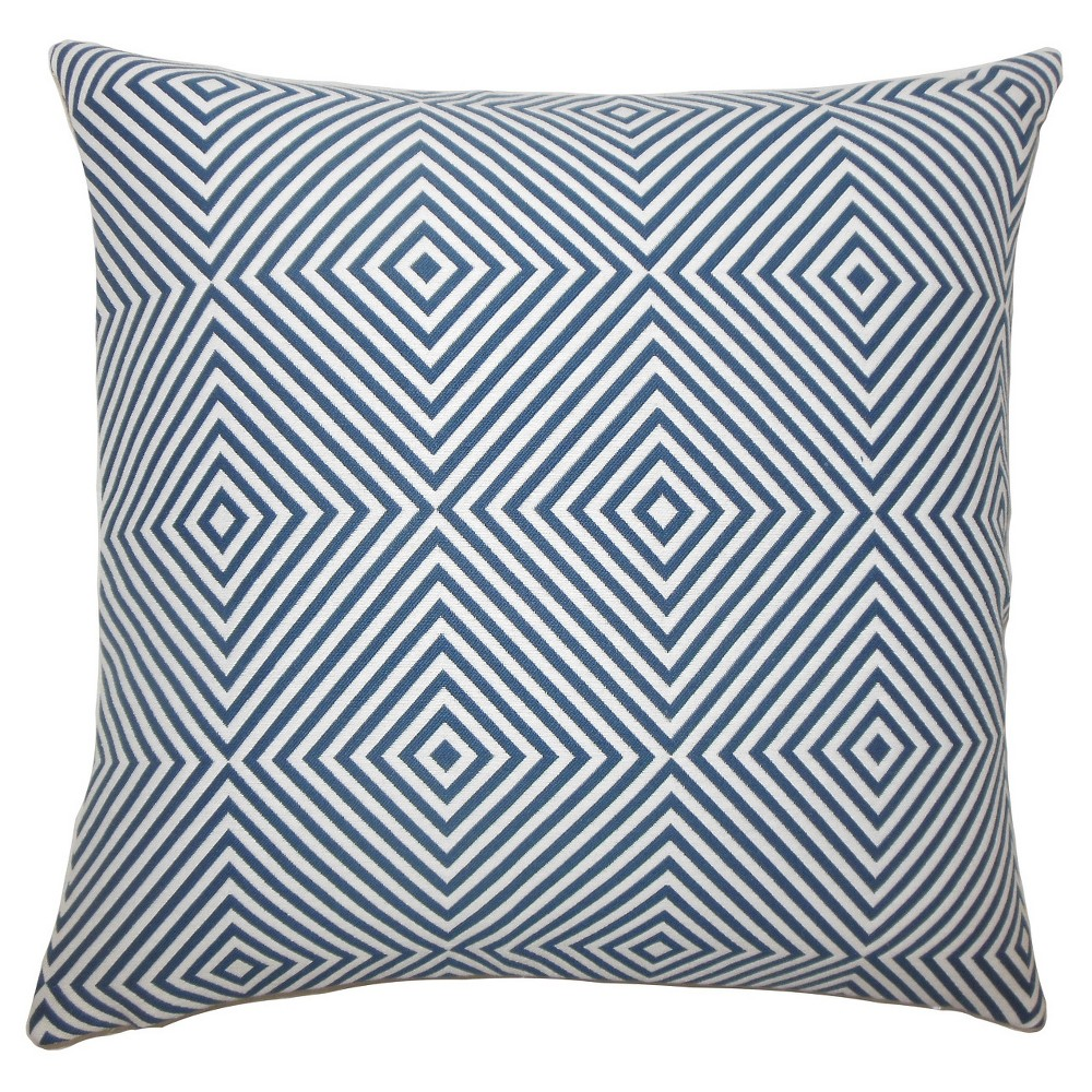 Blue Square Throw Pillow (20