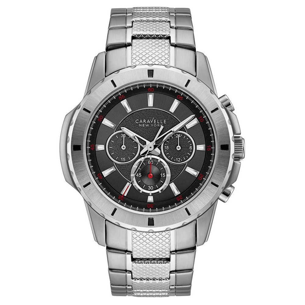 Image of Men's Caravelle New York Chronograph Watch - Silver, Size: Small