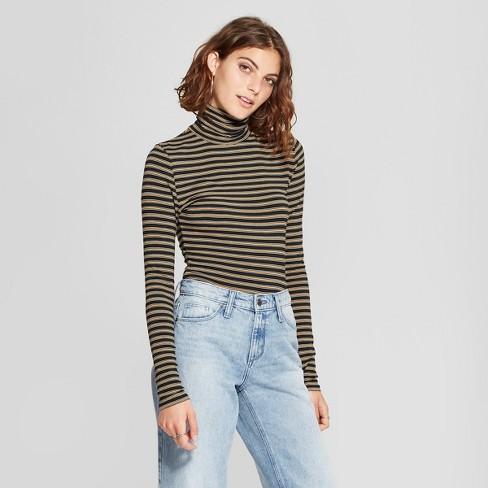 Women's Striped Long Sleeve Turtleneck Top - 3Hearts (Juniors') Black/Mustard M - image 1 of 2