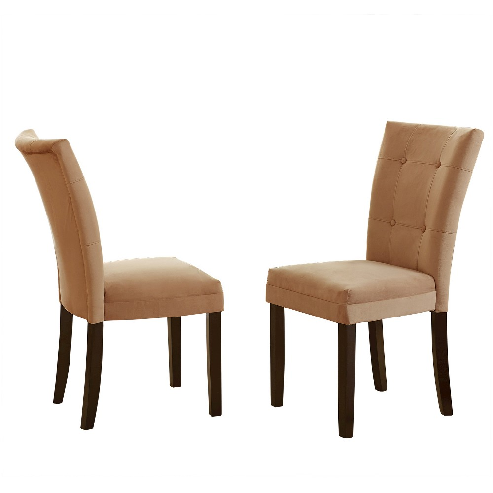 Margo Microfiber Parsons Chairs Wood/Camel (Set of 2) - Steve Silver Company