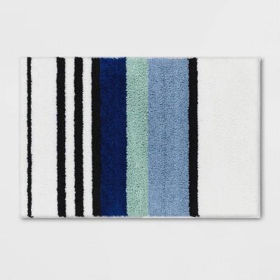 "20""x30"" Century Striped Tufted Bath Rug Blue - Room Essentials™"