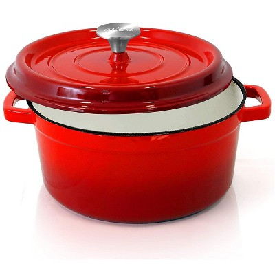 NutriChef 5 Quart Non Stick Porcelain Enameled Round Cast Iron Dutch Oven with Self Basting Lid and Handles, Red