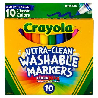 Crayola 10ct Washable Broad Line Markers - Classic Colors