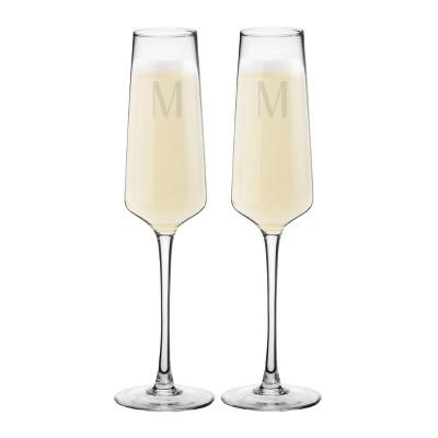 9.5oz 2pk Monogram Estate Champagne Glasses M - Cathy's Concepts