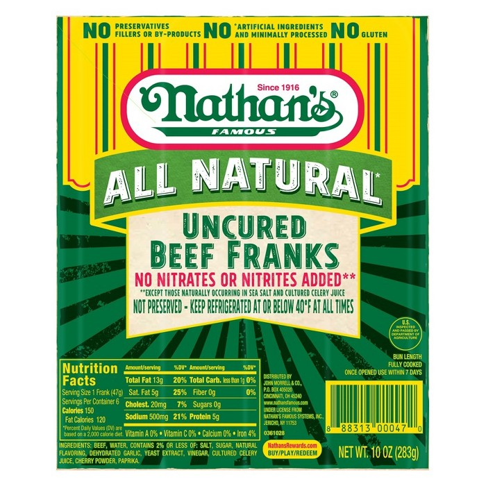 Nathan's Famous Natural Hot Dogs - 6ct/10oz - image 1 of 1